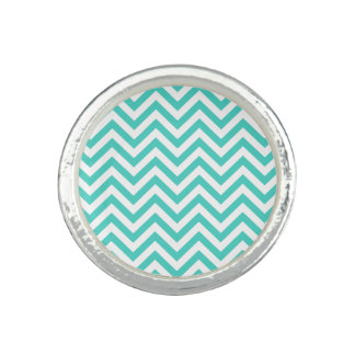 Teal Blue and White Zigzag Stripes Chevron Pattern Photo Ring