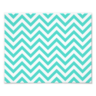 Teal Blue and White Zigzag Stripes Chevron Pattern Photograph