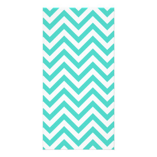 Teal Blue and White Zigzag Stripes Chevron Pattern Picture Card