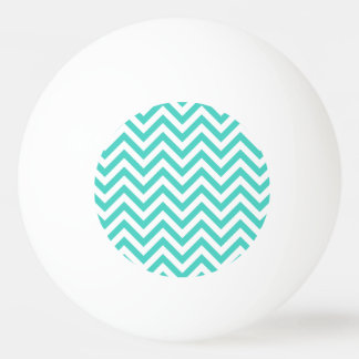 Teal Blue and White Zigzag Stripes Chevron Pattern Ping Pong Ball