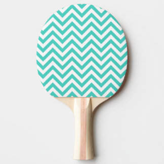 Teal Blue and White Zigzag Stripes Chevron Pattern Ping Pong Paddle