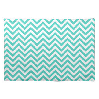 Teal Blue and White Zigzag Stripes Chevron Pattern Placemat