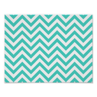 Teal Blue and White Zigzag Stripes Chevron Pattern Poster