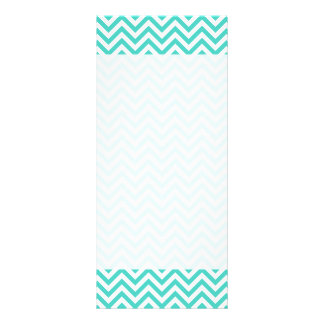 Teal Blue and White Zigzag Stripes Chevron Pattern Rack Card