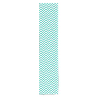 Teal Blue and White Zigzag Stripes Chevron Pattern Short Table Runner