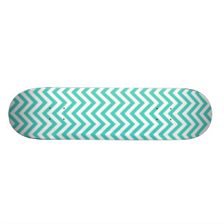 Teal Blue and White Zigzag Stripes Chevron Pattern Skate Boards