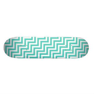 Teal Blue and White Zigzag Stripes Chevron Pattern Skate Decks