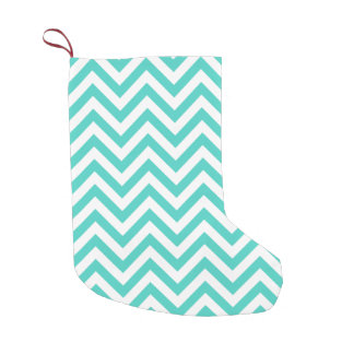 Teal Blue and White Zigzag Stripes Chevron Pattern Small Christmas Stocking