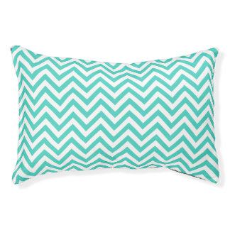 Teal Blue and White Zigzag Stripes Chevron Pattern Small Dog Bed