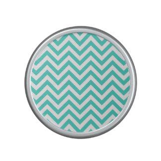 Teal Blue and White Zigzag Stripes Chevron Pattern Speaker
