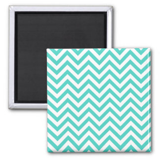 Teal Blue and White Zigzag Stripes Chevron Pattern Square Magnet