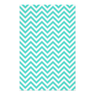 Teal Blue and White Zigzag Stripes Chevron Pattern Stationery