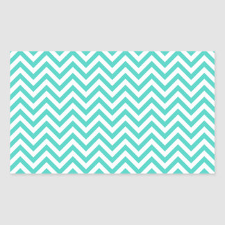 Teal Blue and White Zigzag Stripes Chevron Pattern Sticker