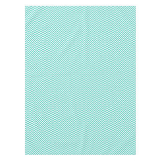 Teal Blue and White Zigzag Stripes Chevron Pattern Tablecloth