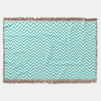 Teal Blue and White Zigzag Stripes Chevron Pattern Throw