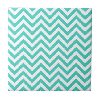 Teal Blue and White Zigzag Stripes Chevron Pattern Tile