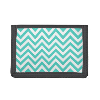 Teal Blue and White Zigzag Stripes Chevron Pattern Tri-fold Wallets