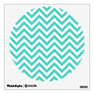 Teal Blue and White Zigzag Stripes Chevron Pattern Wall Decal