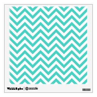 Teal Blue and White Zigzag Stripes Chevron Pattern Wall Sticker