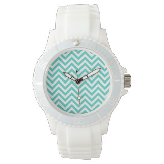 Teal Blue and White Zigzag Stripes Chevron Pattern Watch