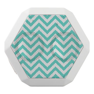 Teal Blue and White Zigzag Stripes Chevron Pattern White Bluetooth Speaker