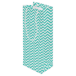 Teal Blue and White Zigzag Stripes Chevron Pattern Wine Gift Bag