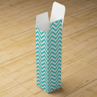 Teal Blue and White Zigzag Stripes Chevron Pattern Wine Gift Box