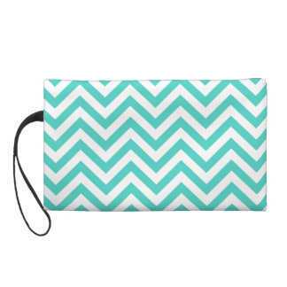 Teal Blue and White Zigzag Stripes Chevron Pattern Wristlet
