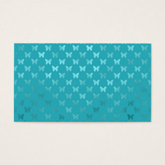 Teal Blue Aqua Butterfly Metallic Faux Foil Business Card