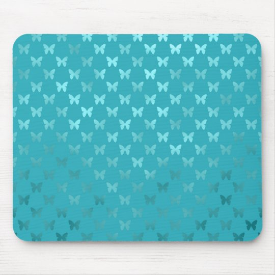 Teal Blue Aqua Butterfly Metallic Faux Foil Mouse Pad