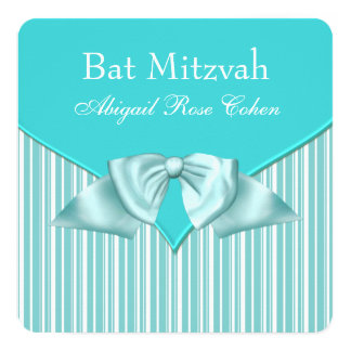 Teal Blue Bat Mitzvah Card