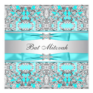 Teal Blue Bat Mitzvah Personalized Invitations