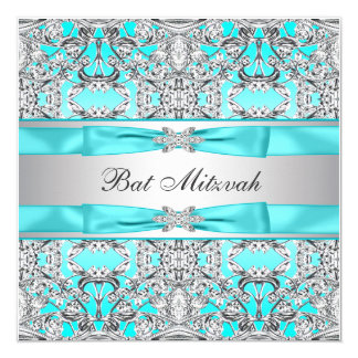 Teal Blue Bat Mitzvah 5.25x5.25 Square Paper Invitation Card