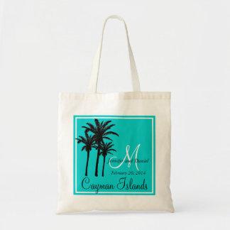 Teal Blue Beach Wedding Palm Trees Budget Tote Bag