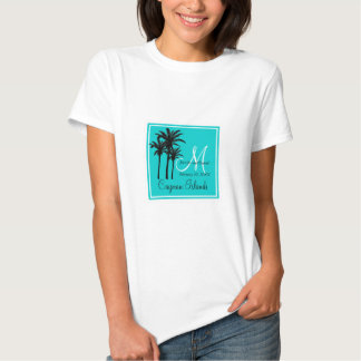 Teal Blue Beach Wedding Palm Trees T Shirt