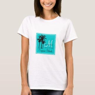 Teal Blue Beach Wedding Palm Trees T-Shirt