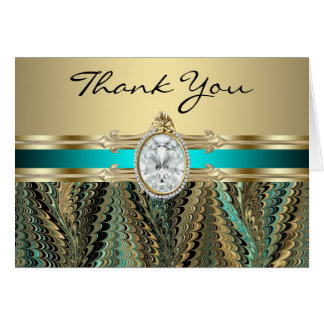 Teal Blue Black and Gold Thank You Cards