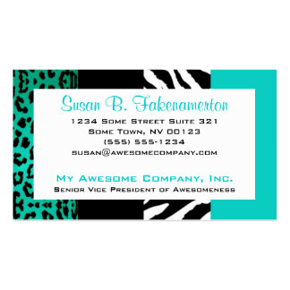 Teal Blue & Black Animal Print Zebra and Leopard Pack Of Standard Business Cards