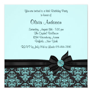 Teal Blue Black Damask Sweet 16 Party Card