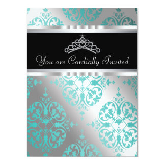 Teal Blue Black Damask Tiara Teal Quinceanera Card