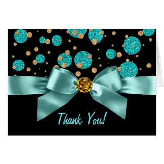Teal Blue Black Gold Thank You Card