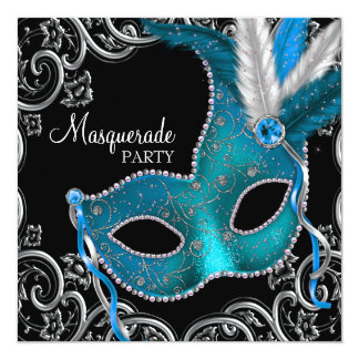 Teal Blue Black Masquerade Party Invites