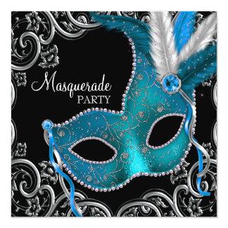 "Teal Blue Black Masquerade Party 5.25"" Square Invitation Card"