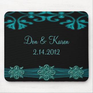 Teal Blue & Black Ornamental Shimmer Keepsake Mouse Pad