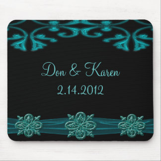 Teal Blue & Black Ornamental Shimmer Keepsake Mousepad