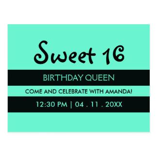 Teal Blue & Black Stripes | Sweet Sixteen Birthday Postcard