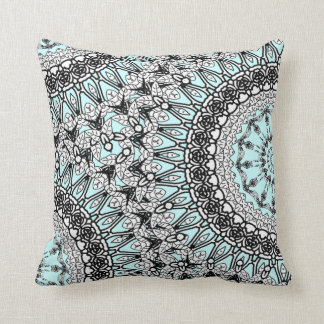 Teal Blue Black White Lace Pattern  Pillow Cushion