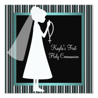 Teal Blue Black White Rosary Girls First Communion Card
