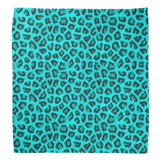 Teal Blue Black Wild Animal Print Bandana