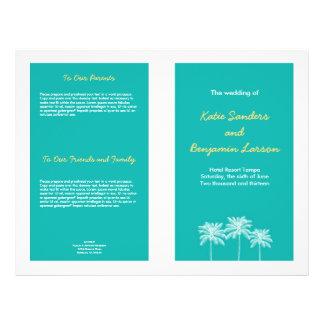 Teal blue block palm trees summer wedding program